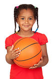 African little girl with a basket ball