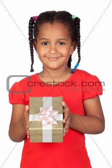 African little girl with a golden gift