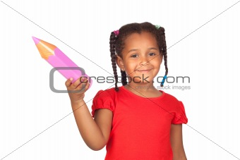 African little girl with a big pink pencil