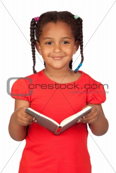 African little girl reading a book