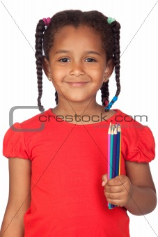 African little girl with crayons