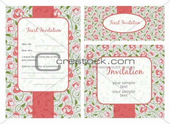 Set of ornate vector frames. Wedding template