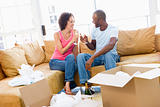 Couple toasting champagne by boxes in new home smiling