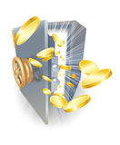 Safe with gold coins flying out