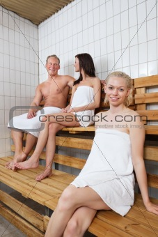 Group of people in sauna