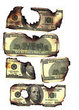 100 dollar bills burned