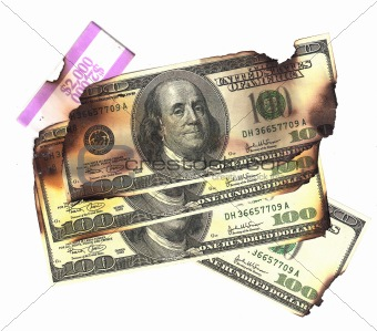 100 dollar bills burned financial loss recession depression risk