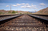 Steel railroad tracks for a train. landscape transportation track