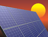 solar energy panel over sunrise sky