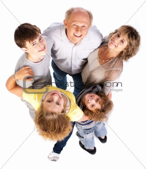 Aerial view of happy family