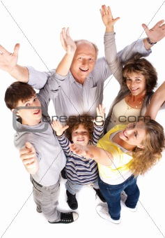 Aerial view of cheerful family