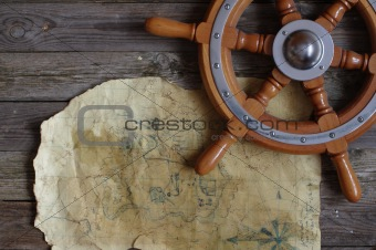 map and steering wheel
