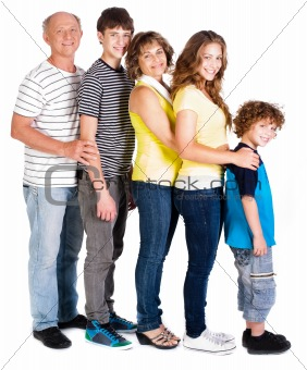 Attractive, happy caucasian american family