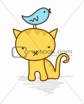 Cute bird sitting on a cat's head