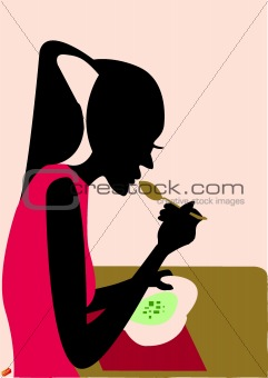 A woman eating her soup