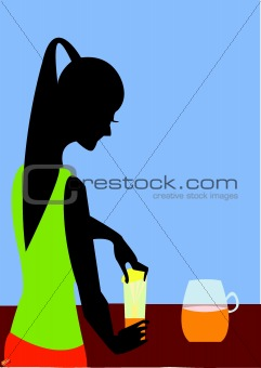 A woman preparing juice