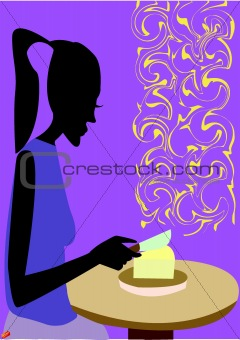 A woman slices cheese in the kitchen