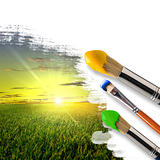 paintbrushes and landscape
