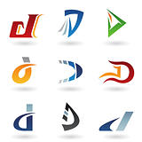 Abstract icons for letter D