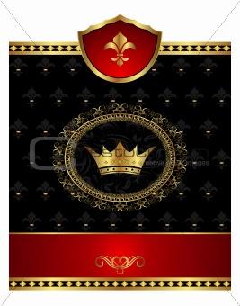Vintage post mark with heraldic elements