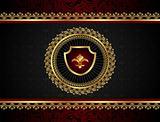 golden vintage frame with shield