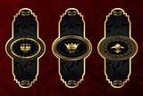 set gold vintage labels with design elements