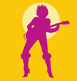 Woman Playing Guitar Silhouette