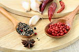 spices - red and black pepper, chili and garlic on a wooden background