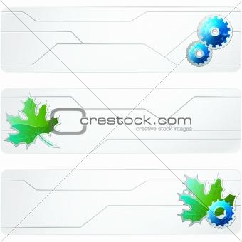 Three white futuristic banners