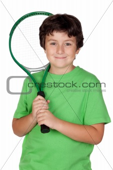 Adorable child with a tennis racket