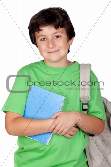 Beautiful student child with backpack