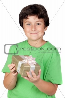 Adorable boy with a gift