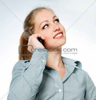 business lady on phone