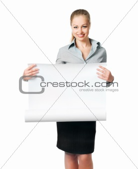 business lady with blank card