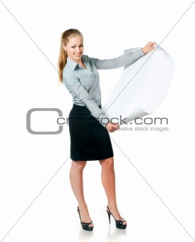 business lady with blank paper