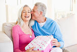 Husband giving wife gift in living room kissing her and smiling