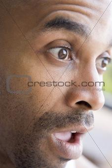 Head shot of surprised man