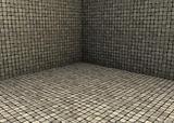 3d render beige tiled mosaic stone empty space