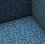 isometric 3d render blue tiled mosaic stone empty space