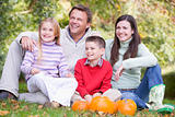 Family sitting on grass with pumpkins smiling