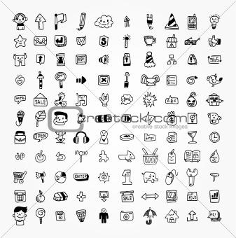 100 hand draw web icon