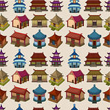 cartoon Chinese house seamless pattern