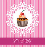 invitation card with chocolate cupcake and a cherry