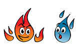 fire and water vector