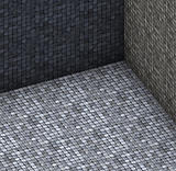 isometric 3d render gray tiled mosaic stone empty space