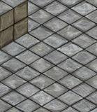 isometric 3d render stone tiled cube on tiled pavement