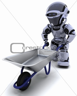 robot with a wheel barrow