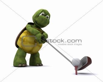 Tortoise Playing golf