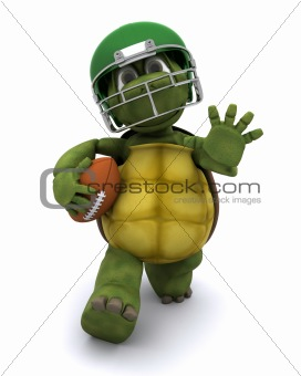 Tortoise running with an american football