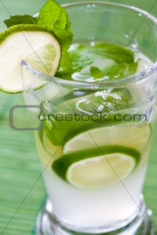 Mojito cocktail with rum and lime